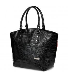 Czarna torebka zarka skóra naturalna croco koszyk A4 na ramie Beltimore S15
