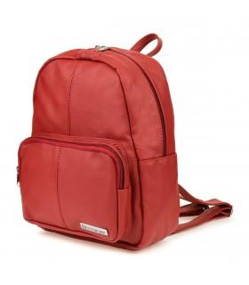 Czerwony skórzany damski plecak Beltimore pojemny R33