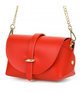 Czerwona mała włoska skórzana damska torebka wieczorowa na łańcuszku P45