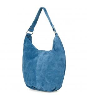 Niebieska zamszowa torebka damska A4 skórzana worek K50