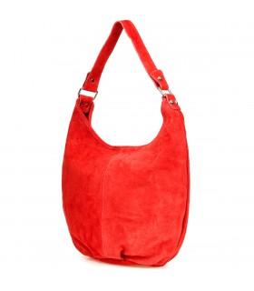 Czerwona zamszowa torebka damska A4 skórzana worek K50