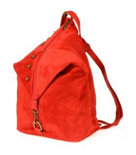 Czerwony Włoski Stylowy Plecak Damski Skórzany Zamsz A4 W01