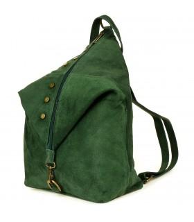 Ciemno- zielony Włoski Stylowy Plecak Damski Skórzany Zamsz A4 W01