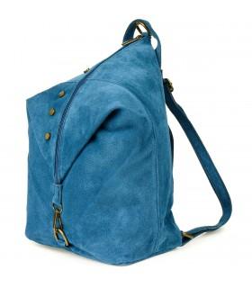Niebieski Włoski Stylowy Plecak Damski Skórzany Zamsz A4 W01