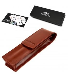 Etui na długopisy pojemne brązowe skórzane Beltimore G91
