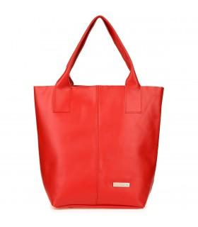 Czerwona damska torebka worek shopperka skóra naturalna Beltimore F18